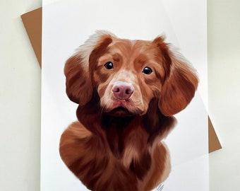 Custom Pet Portrait, Digital Painting, A4 Print, Dog portrait, Cat portrait, Pet Commission