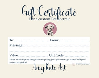 Single Pet, DIGITAL DOWNLOAD, Gift Certificate, Custom Pet Portrait, Gift