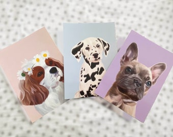 Pack of 3 Postcards, Digital Painting, Puppy Postcards, Digital dog painting, postcards