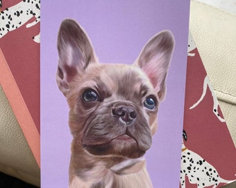 French Bull Dog Postcard, Frenchie, A6 Postcard, Frenchie Digital painting
