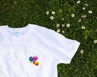 party pansies - t-shirt cross stitch kit - suitable for adult beginners