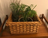 Vintage hand woven cane, large sturdy square basket, planter