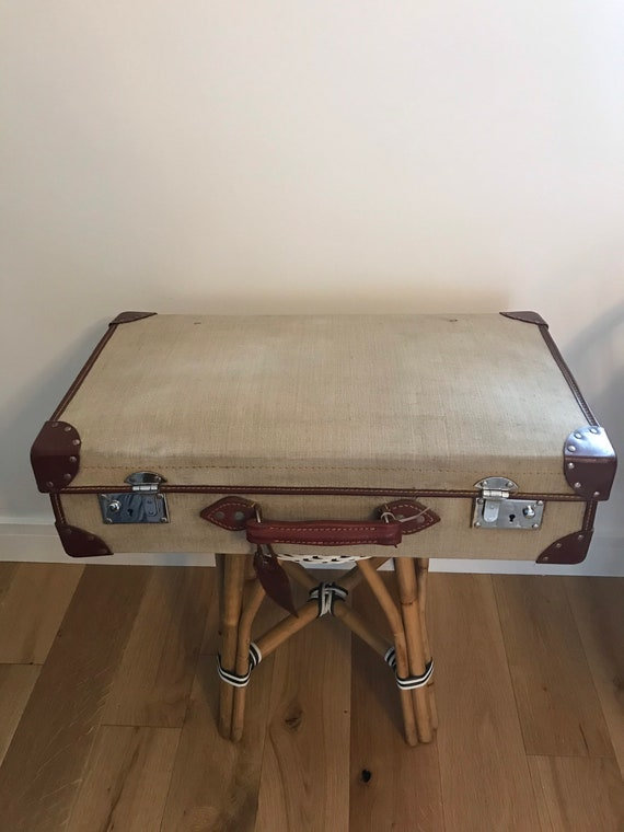Vintage military canvas and leather large suitcase
