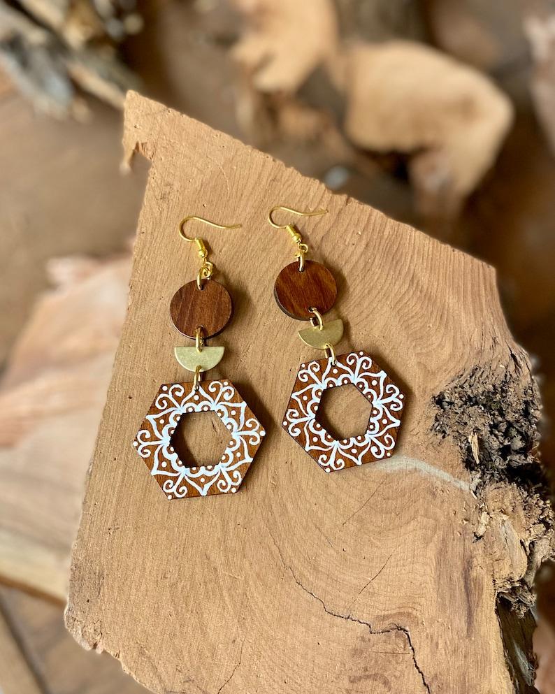 Hand painted Redwood Earrings