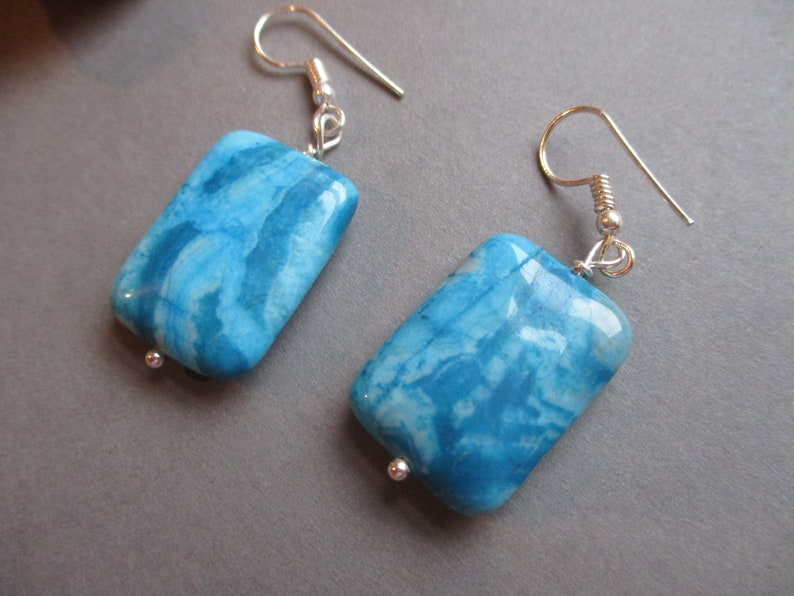 Turquoise Agate earrings with silver plate findings.