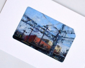 Train Ticket Art Print - Scenery from the Long Island Railroad Train Car - Train Wall Art - Train Gifts