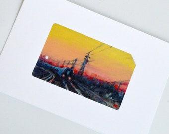 Train Decor - Long Island Railroad Sunset Painting -  Tiny Giclee Art Print - Long Island, NY