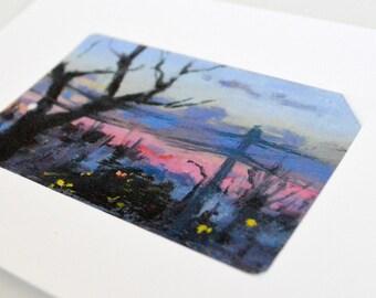 Train Ticket Art Print - Brilliant Sunset on Long Island Railroad Tracks - Train Wall Art - Train Gifts