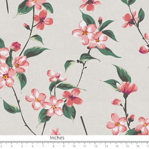 Turquoise Pink Orange Watercolour Floral Pattern Print fabric Canvas Bedlinen Pillow Fabric for sewing Fabric by yard Fabric by Meter SHF132