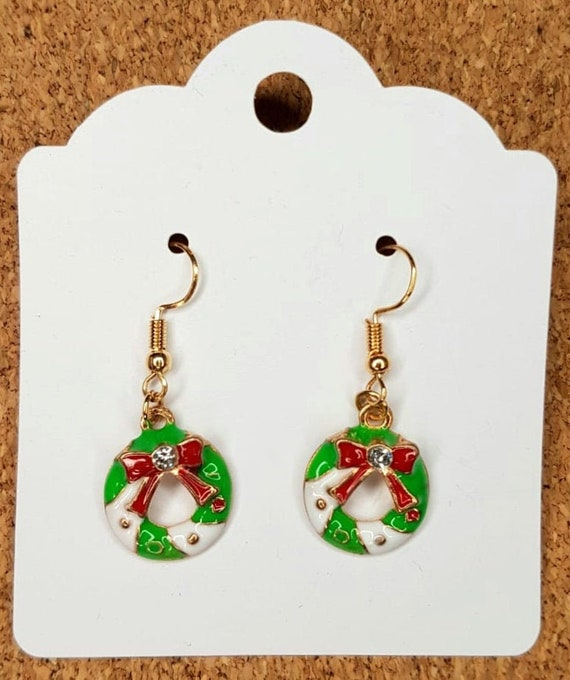 Gold Coloured Alloy Earrings Chequered Christmas Stocking Dangling Earrings Cute Christmas Stocking Filler Gift pair