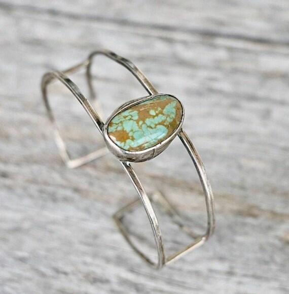 Modern Turquoise & Silver Cuff Bracelet / Vintage