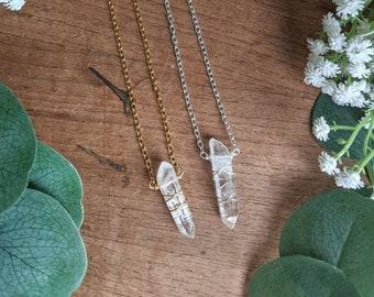 Quartz Gemstone Necklace Crystal Clear Quartz Pendant Dagger Necklace Healing Crystal Necklace Arrow Necklace Quartz Crystal Necklace