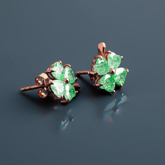 Light green four leaf clover clip on earrings