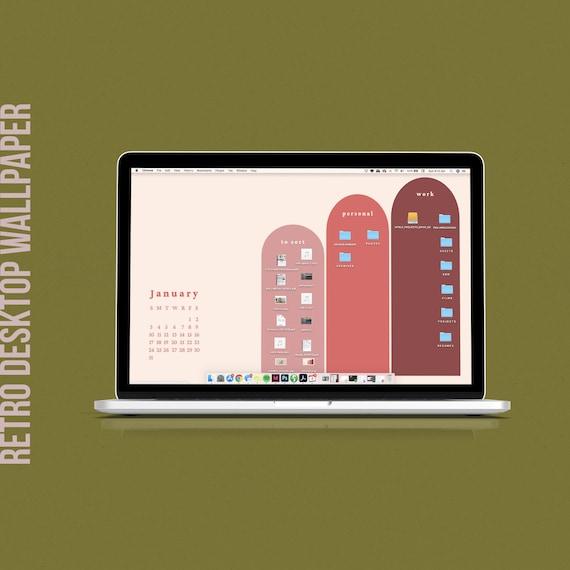 2021 Retro Desktop Wallpaper Organizer Desktop Calendar Etsy