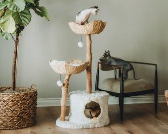 Wood Cat Tree Tower, Cat Climbing Tree, Cat Condo, Wooden Cat Tree, Unique Cat Trees, Luxury Cat Lover Gift, Cat Furniture, Cat Gift   Mau