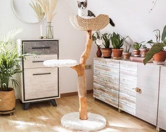 Cat Tree Tower, Modern Single Branch Cat Condo, Wood Cat Tree, Cat Climbing, Furniture For Cat, Cat Lover Gift, Cat Furniture,Cat Gift | Mau