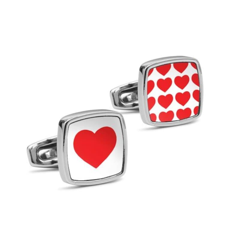 Personalized Boyfriend Gift #LOVE Red White Heart cuff links Wedding Cufflinks Custom cufflinks for men or women Birthday Gift for Him