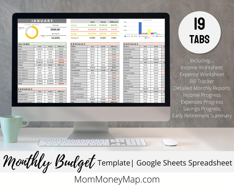 Google Sheets Budget Template for Monthly and Yearly Financial image 0
