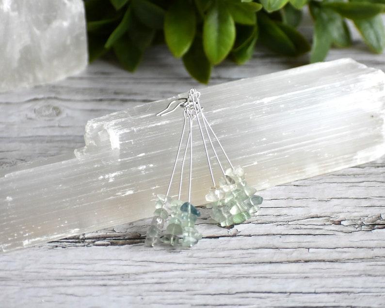 Silver Plated Rainbow Fluorite Drop Earrings Drop Earrings Gemstone Earrings Nickel Free Hypoallergenic