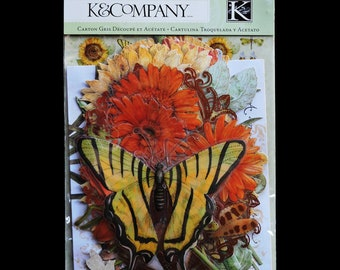 K & COMPANY PACK Cardstock Acetate Die Cuts TC Tim Coffey Cottage Garden Warm Cool Mix Blossomwood Travel Seahorse Frames Flowers 1 Sgl Pack