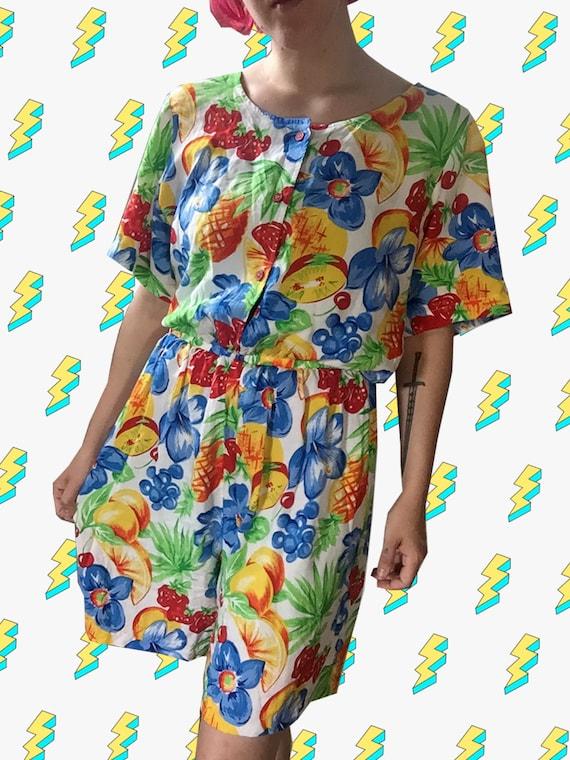 1990s Fruit Tropical Print Summer Romper