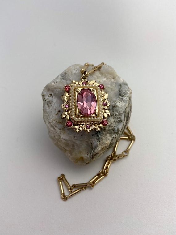 Vintage CORO rhinestone and pearl pendant necklac… - image 5