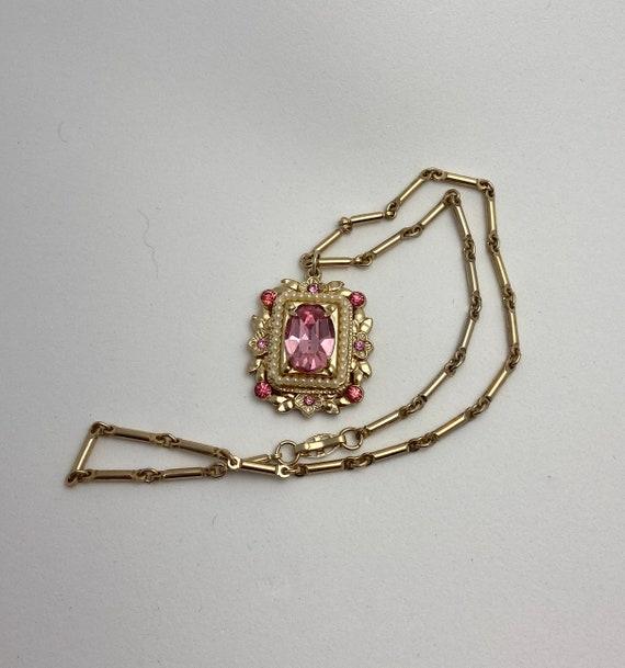 Vintage CORO rhinestone and pearl pendant necklac… - image 4