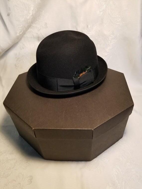 Vintage Woman Black Fedora Hat and Hat Box