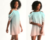 Sand Sea Ombre Cold Shoulder Dress, Women 39 s Open Shoulder A-Line Dress, Summer Dress, Short Dress, Vacation Dress, Stylish Dress, XS-XXL