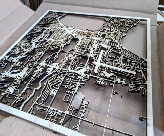 San Francisco State University SFSU laser cut campus map