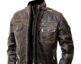 Mens Leather Jacket Etsy