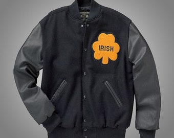 Irish Bomber Rudy Notre Dame Real Leather Sleeves and Wool Jacket for Both Men and Women
