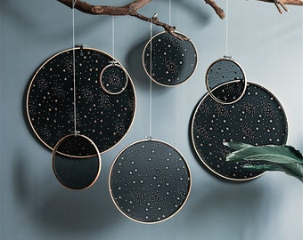 Star Embroidery Wedding Decoration Wall Hangings Decoration Black,Handmade Bamboo Embroidered Cloth,Wall Covering,Wall Decor