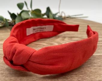 Dark Coral Linen Knot Headband - Hair Accessory, Unique Headband, Womens Headband, Top Knot, Alice Band, Hair Turban