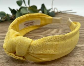 Lemon Spritz Linen Knot Headband - Hair Accessory, Unique Headband, Womens Headband, Top Knot, Alice Band, Hair Turban