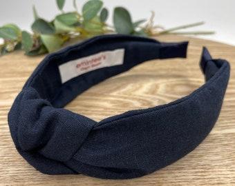 Navy Linen Knot Headband - Hair Accessory, Unique Headband, Womens Headband, Top Knot, Alice Band, Hair Turban
