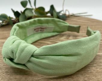 Mint Linen Knot Headband - Hair Accessory, Unique Headband, Womens Headband, Top Knot, Alice Band, Hair Turban