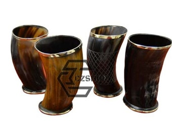 "Medieval Viking Drinking Horn Mug Cup Game of Thrones 6/"" Assorted  4Pcs"