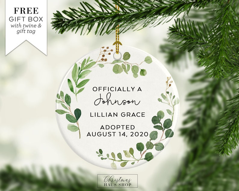 First Christmas Officially Adopted Christmas Ornament Personalized Ceramic Christmas Ornament Keepsake Greenery Leaves and Branches OR111