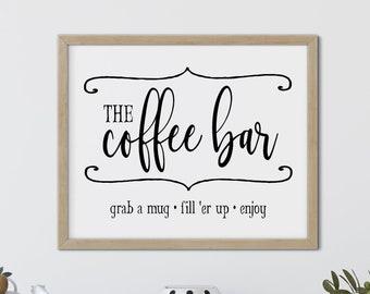 Coffee Bar Printable Art, Vintage Style Coffee Station Wall Art, Coffee Bar Digital Download, Farmhouse Printable Coffee Bar Art, Coffee Art