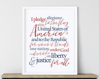 American Pledge of Allegiance Printable Poster, Red White and Blue Art, Digital Patriotic Printable, USA Pledge Poster, Pledge Sign Art