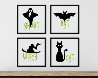 Black and Green Halloween Printable Art Set of 4, Black Cat, Witch with Hat, Flying Bat, Ghost Word Art, Gothic Digital Prints