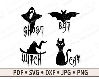 Halloween Bundle Digital Art and Cut Files, Ghost Bat Witch Cat Halloween SVG, Printable Art Set of 4, Printable Halloween Party Decor