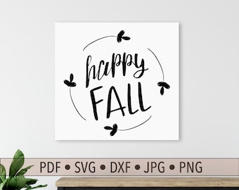 Happy Fall Digital Art, Fall SVG and Farmhouse Style Printable Art for Fall Decor, Fall Art Projects, Autumn Art, Autumn Design for Cutting