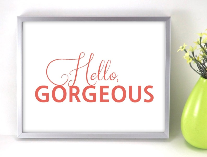 Coral Hello Gorgeous Printable Sign Hello SVG Digital Art image 0