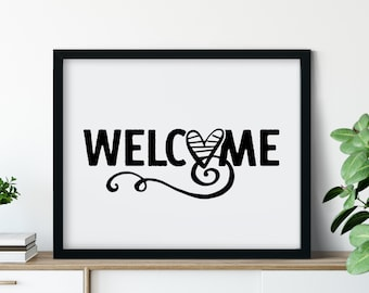 Welcome with Heart Printable Art in Black, Wall Decor to Print, Entryway Wall Art, Farmhouse Decor, Entry Sign, Primitive Art