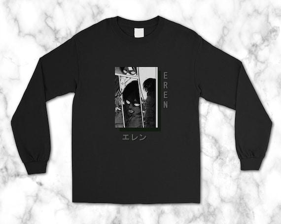 Attack On Titan Eren Manga Panel Anime Gift Long Sleeve Tee Aot Art Gift Yaeger Streetwear Merch