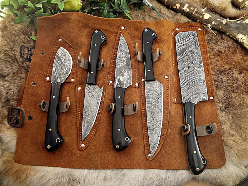 A Beautiful Custom Made Damascus Steel Chef Knives Set With image 0
