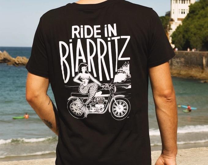 Black RIDE IN BIARRITZ unisex T-shirt