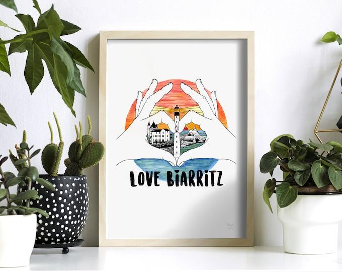 LOVE BIARRITZ colorisée (édition limitée) 21x29,7cm